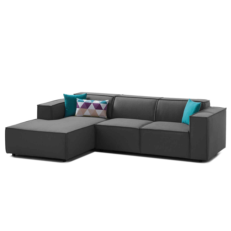 Ecksofa Kinx I Webstoff - Longchair davorstehend links Stoff Osta Anthrazit Sale Angebote