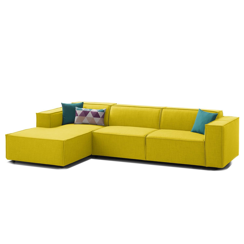 canap d 39 angle kinx ii tissu m ridienne longue gauche vue de face tissu milan jaune. Black Bedroom Furniture Sets. Home Design Ideas