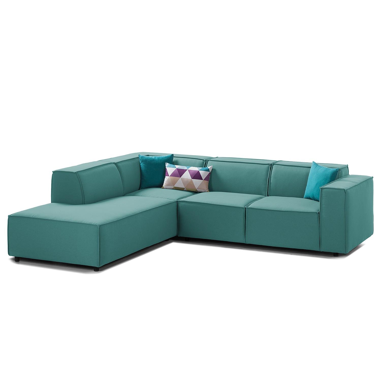 canap d 39 angle kinx iii tissu courte gauche vue de face tissu osta p trole kinx par. Black Bedroom Furniture Sets. Home Design Ideas