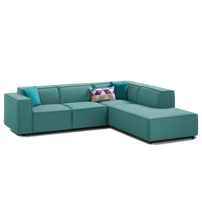 canap d 39 angle kinx iii tissu courte droite vue de face tissu osta p trole kinx par. Black Bedroom Furniture Sets. Home Design Ideas