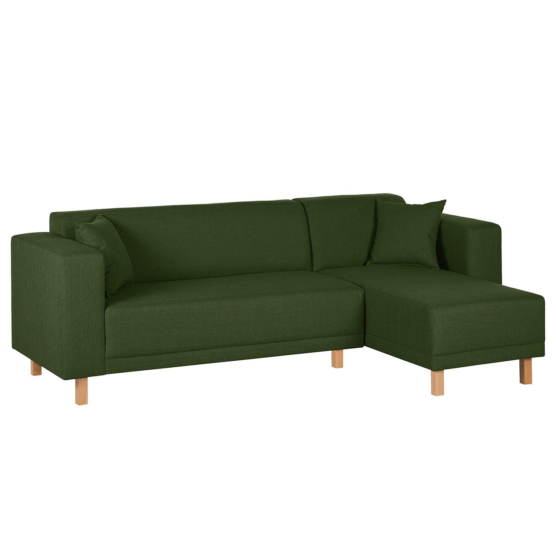 Canapé d'angle KiYDOO relax - Tissu - Méridienne longue à droite (vue de face) - Vert foncé, mooved