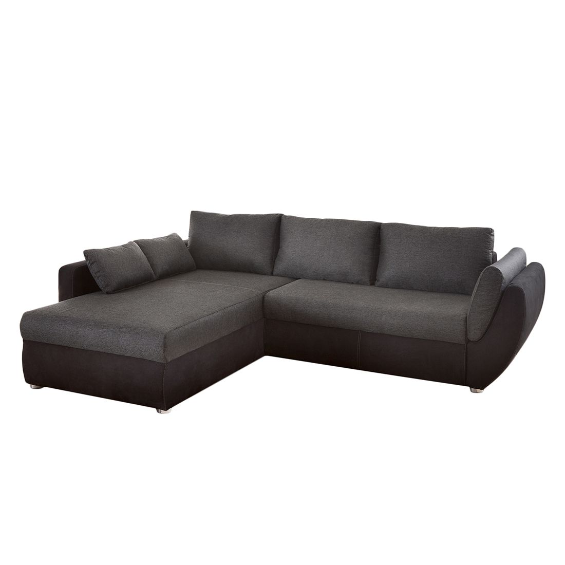 ecksofa kuhmo webstoff dunkelgrau microfaser schwarz ottomane beidseitig montierbar home. Black Bedroom Furniture Sets. Home Design Ideas
