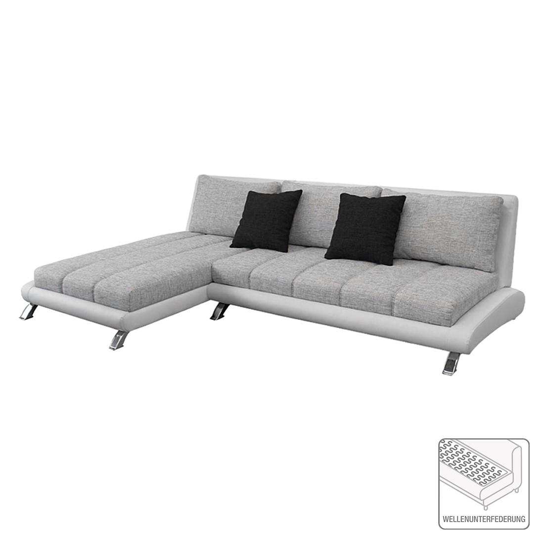 Canapé d'angle Lincoln - Cuir synthétique / Tissu - Méridienne - Blanc / Gris, roomscape