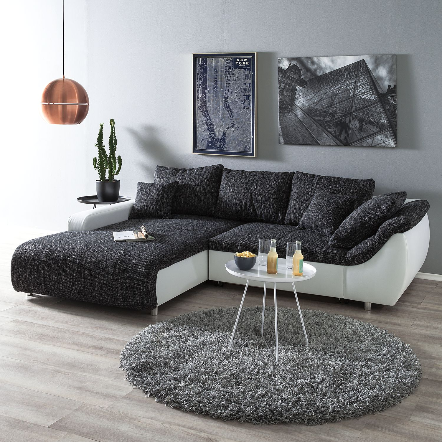 10 sparen ecksofa mable in grau wei nur 899 99. Black Bedroom Furniture Sets. Home Design Ideas