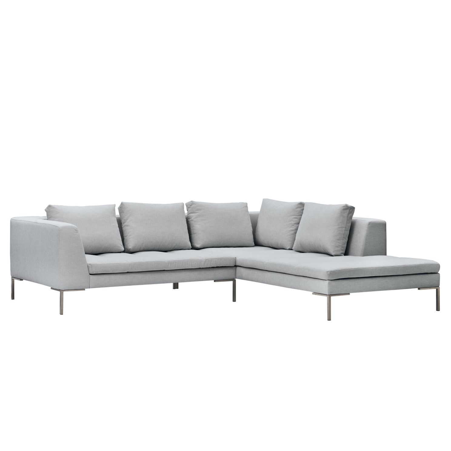 ecksofa madison i webstoff ottomane davorstehend rechts 255 cm stoff anda ii silber. Black Bedroom Furniture Sets. Home Design Ideas