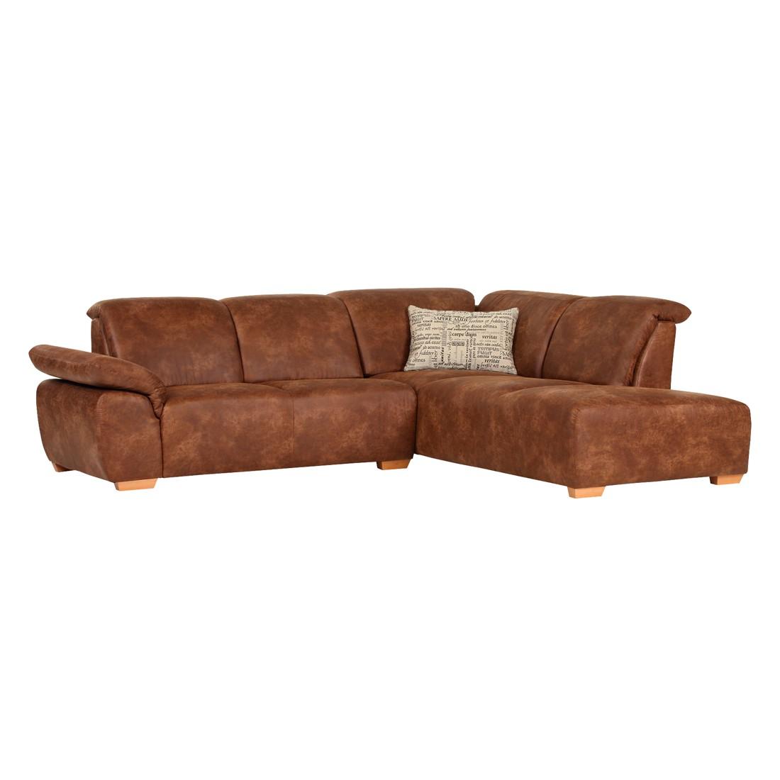 Canapé d'angle Marge - Microfibre - Méridienne à droite (vue de face) - Vintage Cognac, Red Living