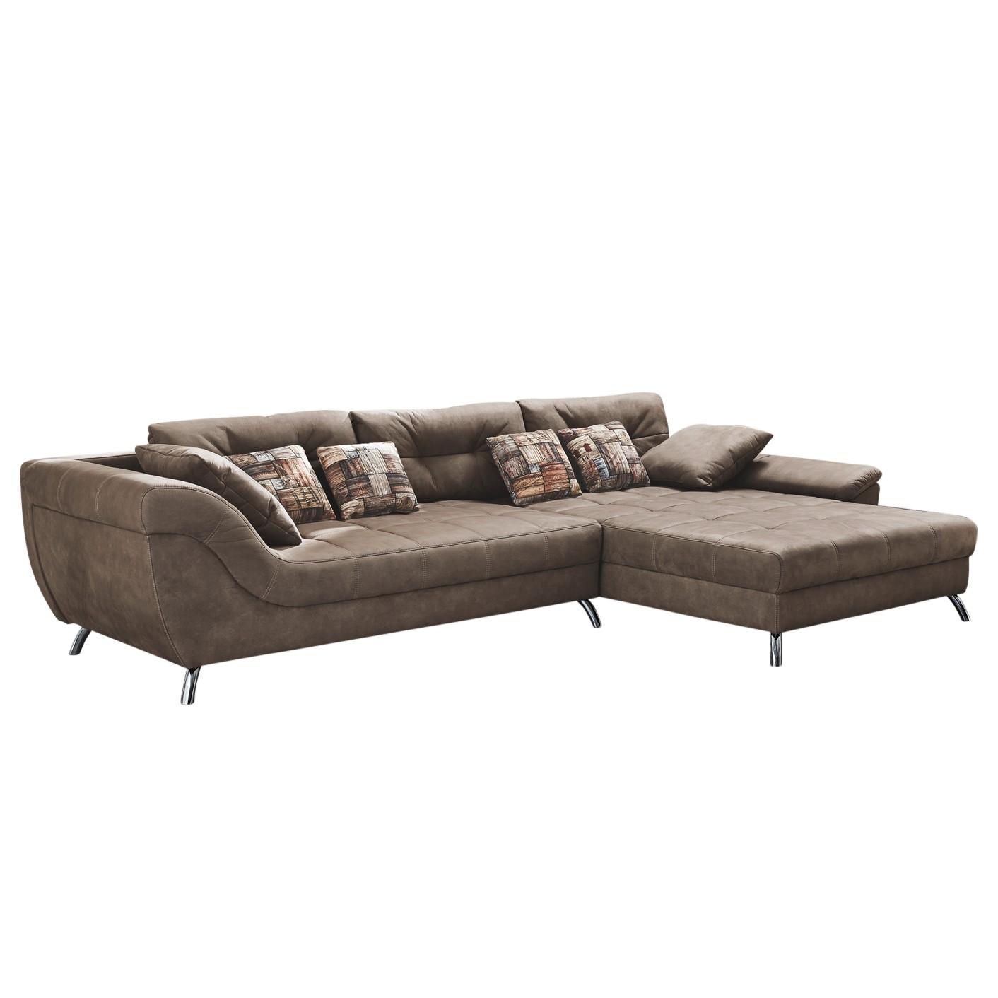 Canapé d'angle Merizo - Microfibre Marron Méridienne longue montable à gauche ou droite, Home Design
