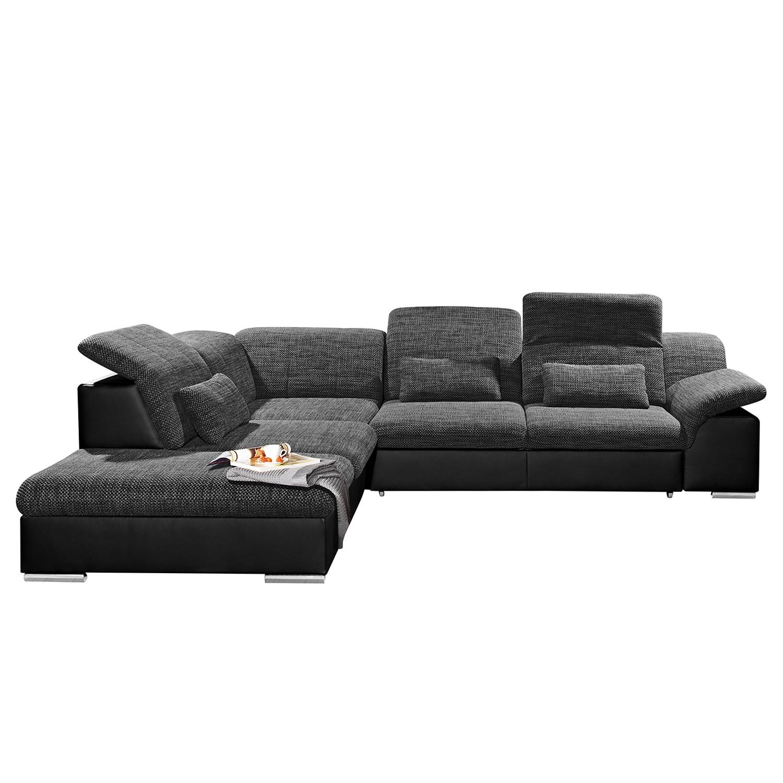 Canapé d'angle Mikano (convertible) - Imitation cuir / Tissu - Noir / Gris foncé - Courte à gauche (