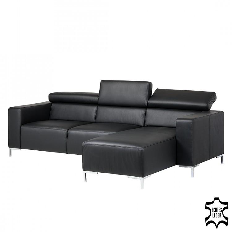 Canapé d'angle Mirtillo - Cuir véritable - Méridienne à droite (vue de face) - Noir, Fredriks