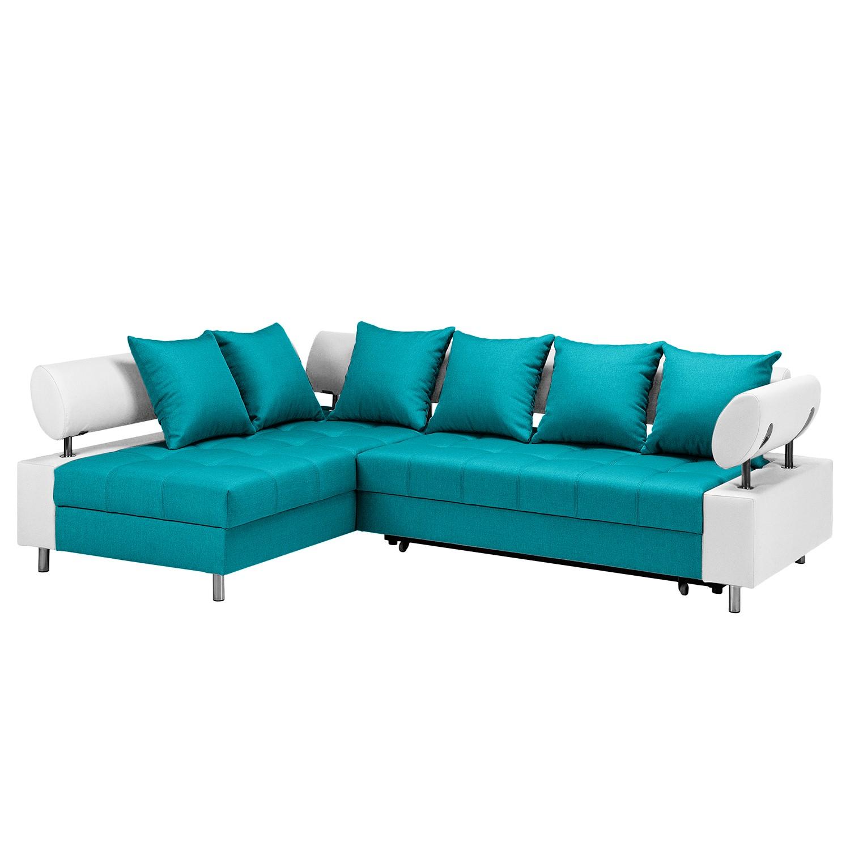 Canapé d'angle Mosby - Imitation cuir / Tissu - Convertible - Courte à gauche (vue de face) - Blanc