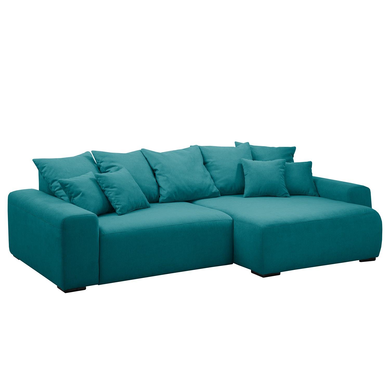 Canapé d'angle Mundi - Tissu - Méridienne longue à droite (vue de face) - Turquoise, Fredriks