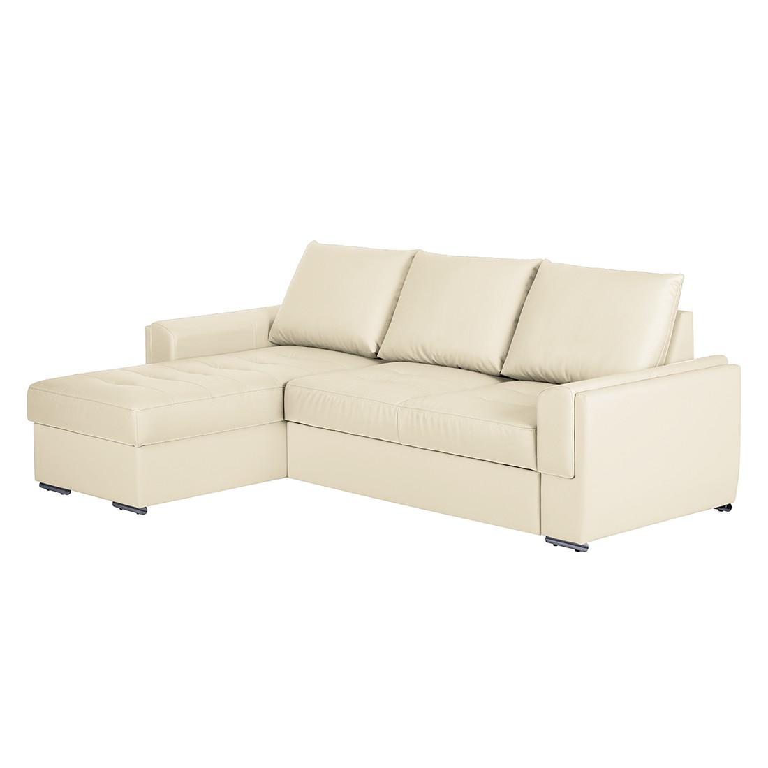 Home 24 - Canapé d angle narva - méridienne longue à monter gauche ou droite cuir synthétique - beige, mooved