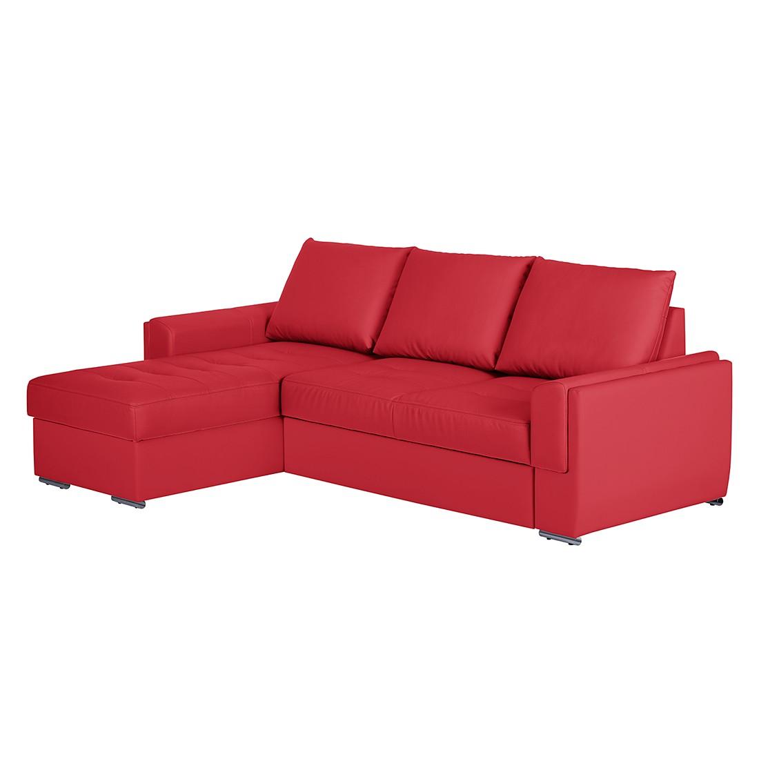 Home 24 - Canapé d angle narva - méridienne longue à monter gauche ou droite cuir synthétique - rouge, mooved