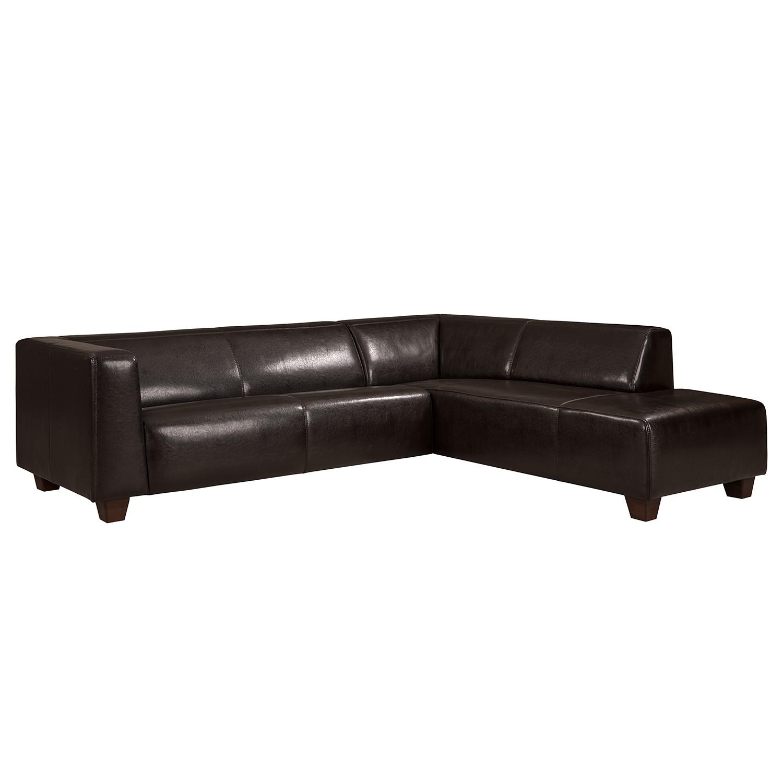 Canapé d'angle Nespolo Cuir véritable - Noir - Courte à droite (vue de face), ars manufacti