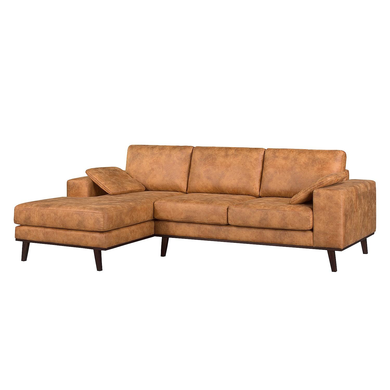 Canapé d'angle Noona - Imitation cuir - Méridienne longue à gauche (vue de face) - Cognac, ars manuf