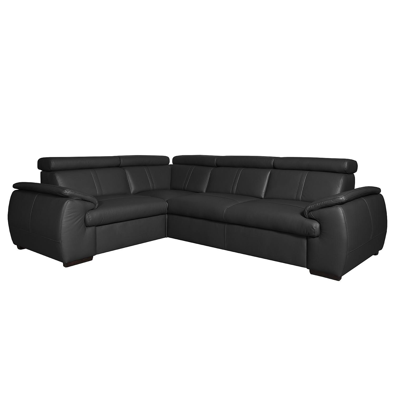 Canapé d'angle Olival I - Cuir véritable - Élément 2,5 places monté à droite (vu de face) - Noir, Nu