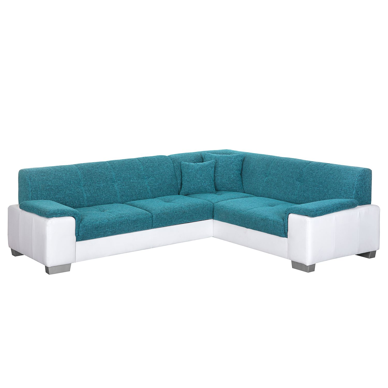 Canapé d'angle Picton (convertible) - Imitation cuir / Tissu structuré - Blanc / Bleu - Fonction lit