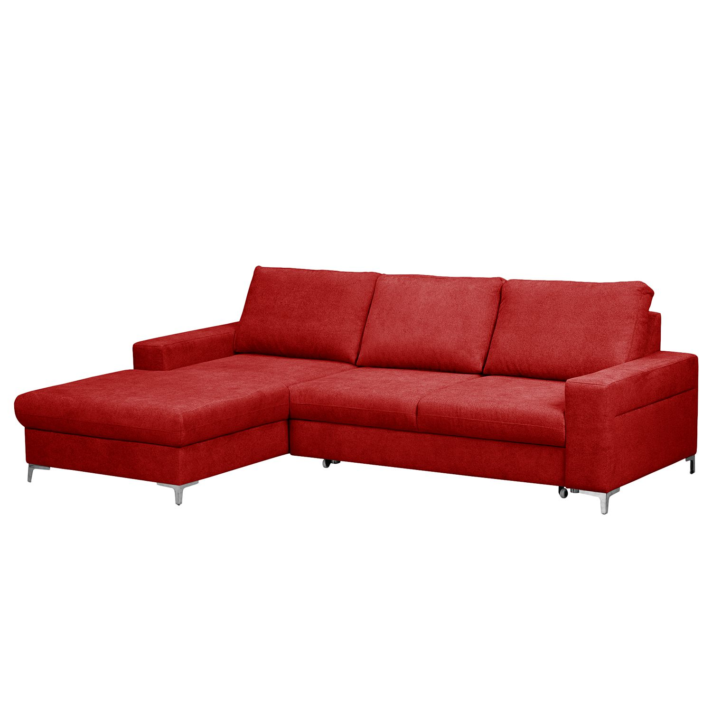 Canapé d'angle Pierpont (convertible) - Tissu - Méridienne longue à gauche (vue de face) - Rouge, Fr