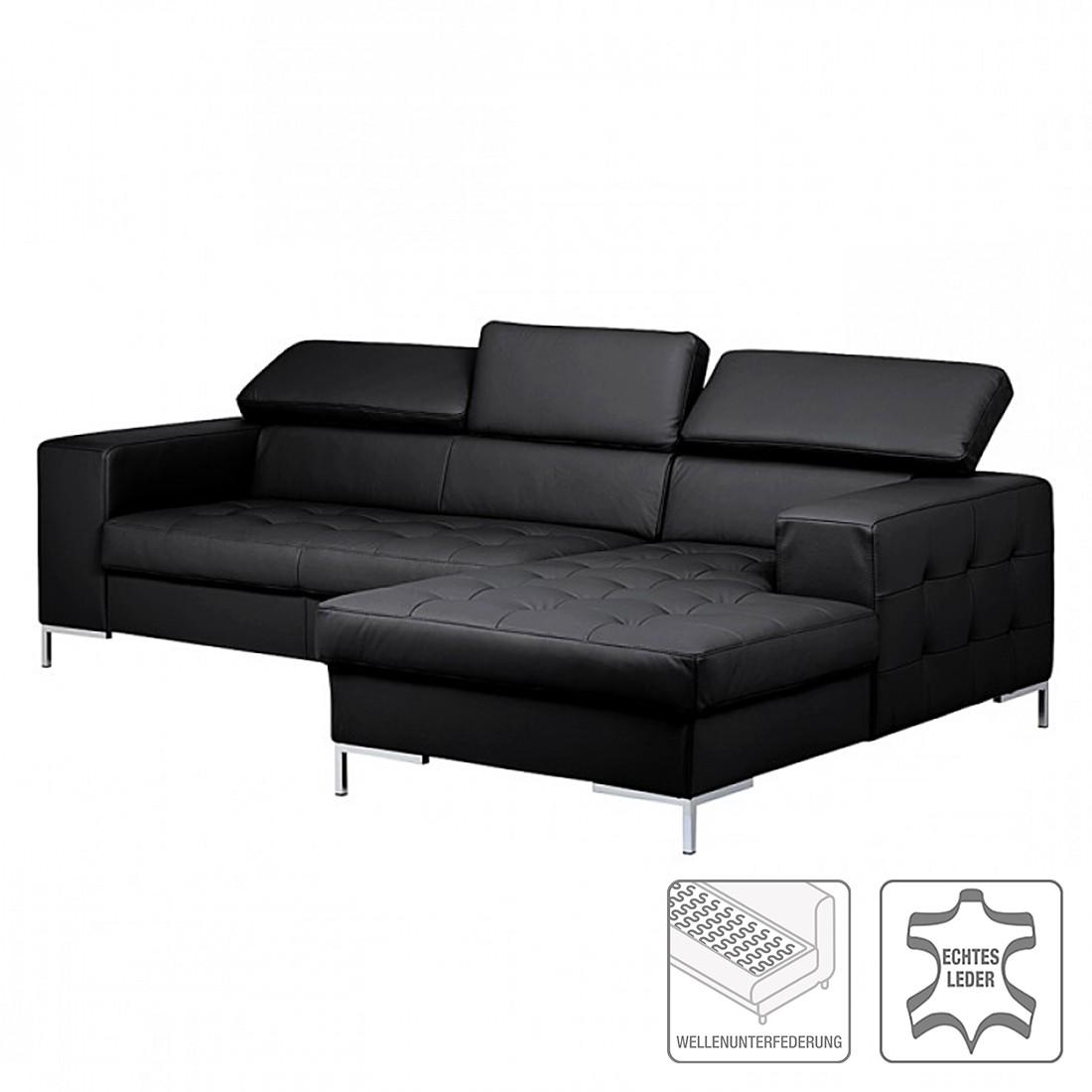 Canapé d'angle Prugna - Cuir véritable noir - Méridienne à droite, Fredriks