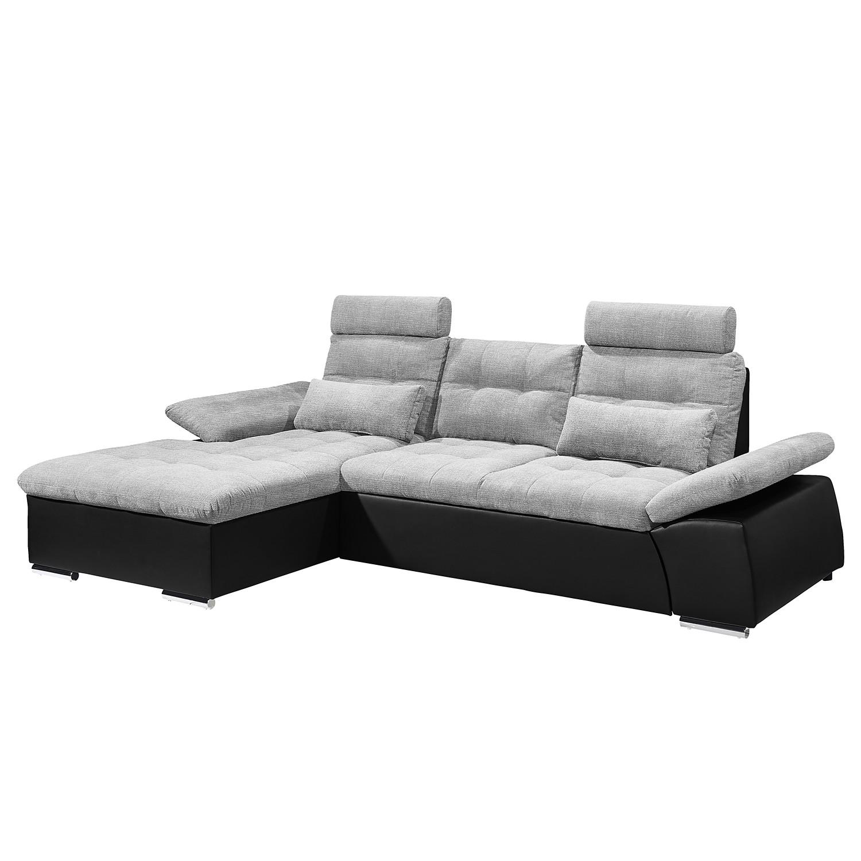 Canapé d'angle Puntiro (convertible) - Imitation cuir / Tissu - Méridienne longue à gauche (vue de f