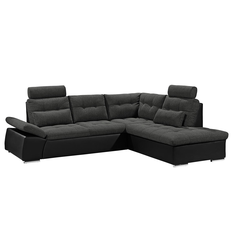 Canapé d'angle Puntiro (convertible) - Imitation cuir / Tissu - Courte à droite (vue de face) - Noir