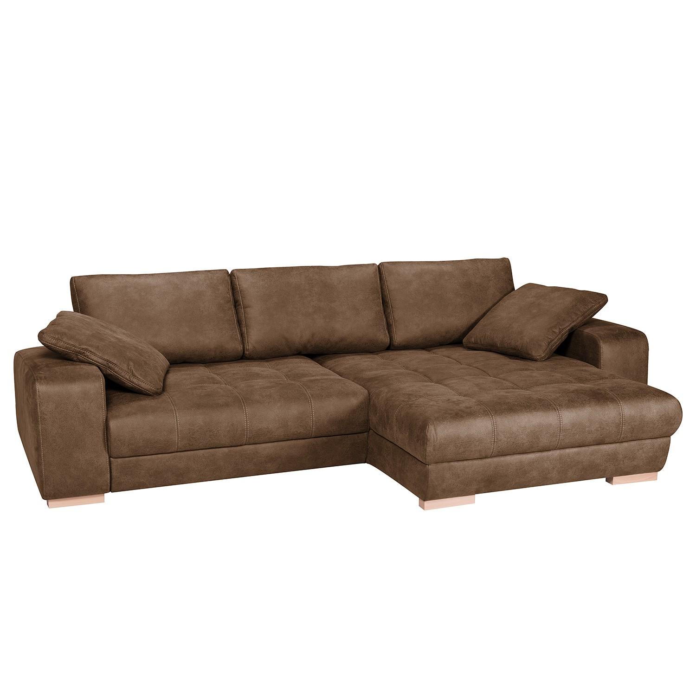 Canapé d'angle boxspring Ratho (convertible) - Aspect cuir ancien - Nougat - Méridienne longue à dro