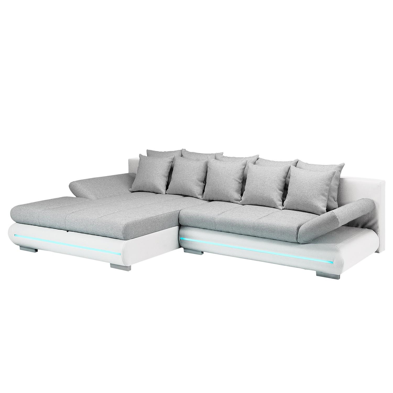 EEK A+, Canapé d'angle Rexburg - Imitation cuir / Tissu structuré - Convertible et éclairage LED - M