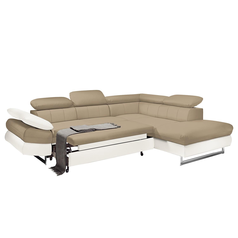 Canapé d'angle Ross - Imitation cuir - Méridienne à droite (vue de face) - Avec fonction couchage -