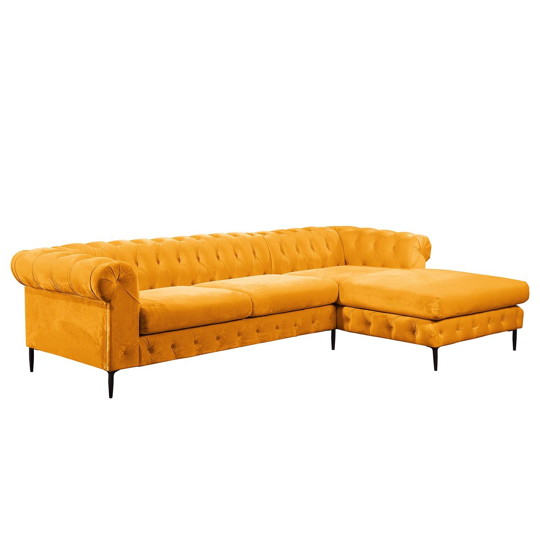 Canapé d'angle Rye Velours - Jaune soleil - Méridienne longue à droite (vue de face), Jack and Alice