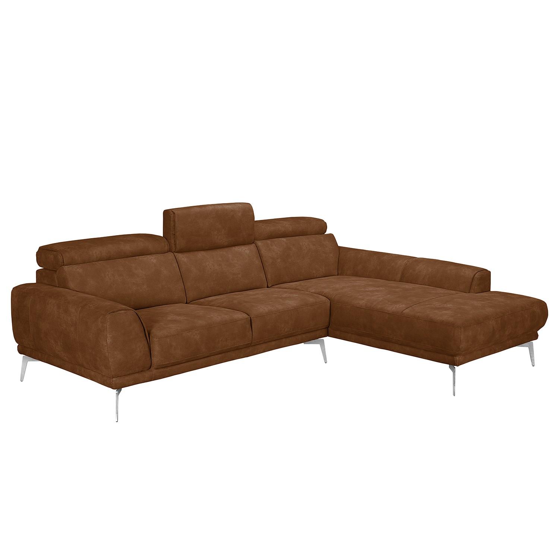 Canapé d'angle Ryley - Imitation cuir - Méridienne longue à droite (vue de face) - Cognac, loftscape