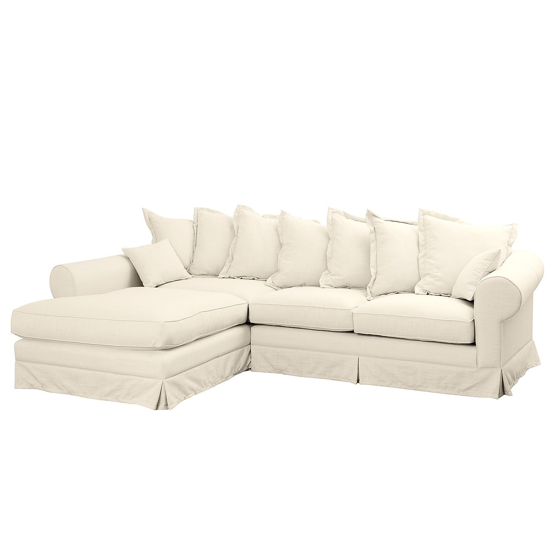 Ecksofa Saltum Webstoff - Longchair davorstehend links - Cremeweiß