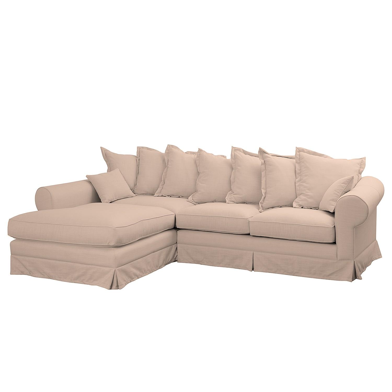 Ecksofa Saltum Webstoff - Longchair davorstehend links - Rosa