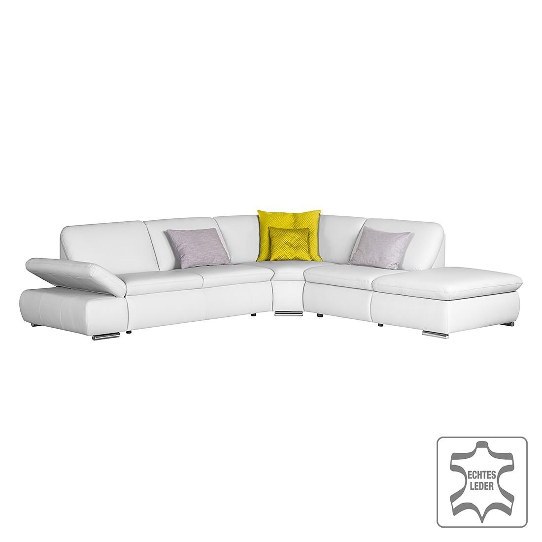 Canapé d'angle Seymor - Cuir véritable Gris clair Méridienne à droite (vue de face), Nuovoform