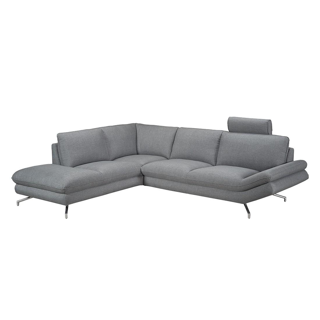 Canapé d'angle Sharon - Tissu gris - Méridienne à gauche (vue de face) - 2 appuis-tête, loftscape