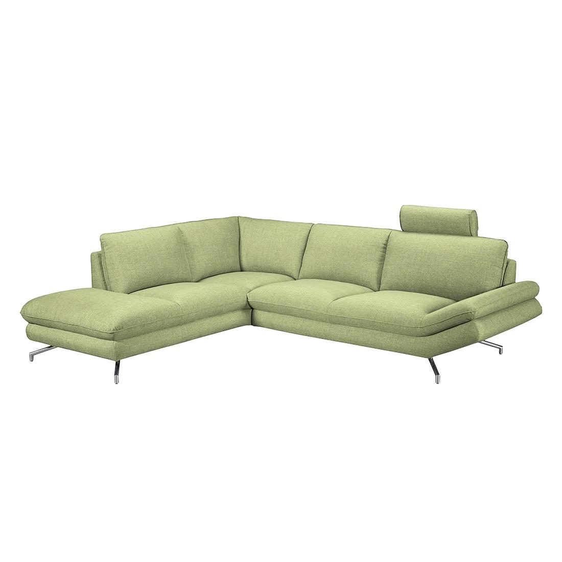 Canapé d'angle Sharon - Tissu vert - Méridienne à gauche (vue de face) - 2 appuis-tête, loftscape