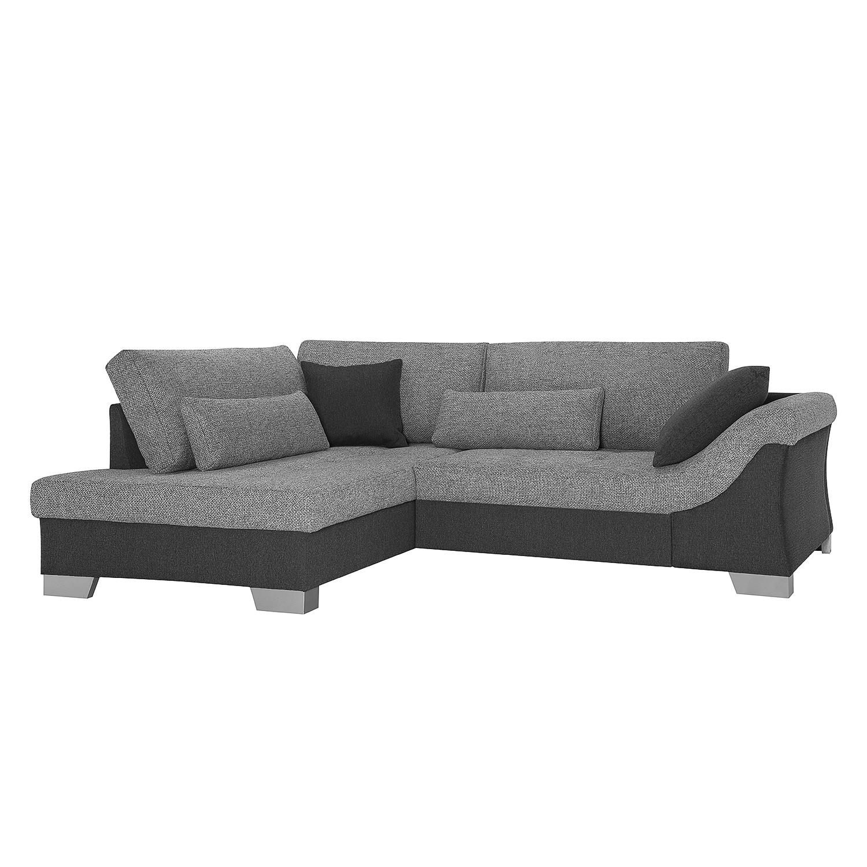 Canapé d'angle Shonto (avec fonction couchage) - Tissu / Tissu structuré - Gris foncé / Gris clair -