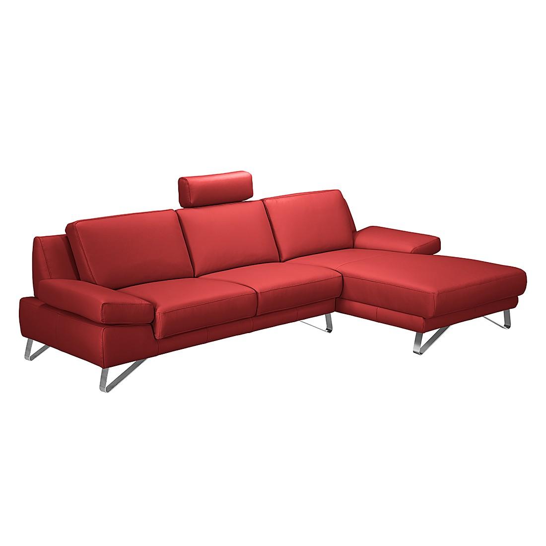 Canapé d'angle Silvano - Cuir rouge véritable carmin - Méridienne à droite (vue de face) Sans appui-