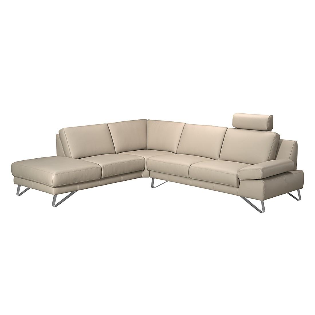 Canapé d'angle Silvano - Cuir synthétique taupe - Méridienne à gauche (vue de face) - Sans appui-têt