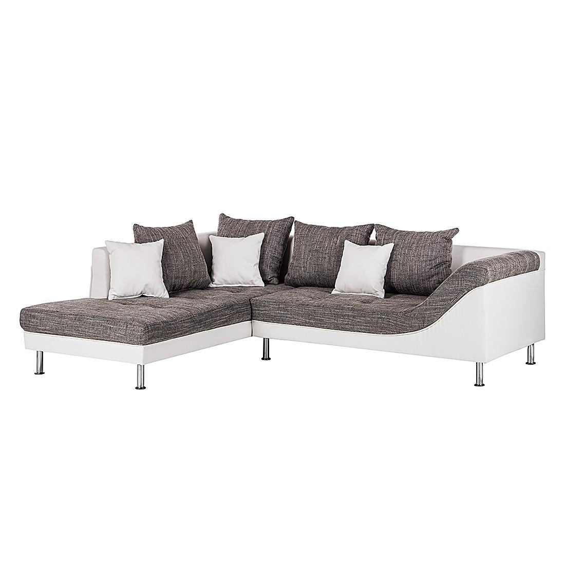 Canapé d'angle SitCom - Imitation cuir / Tissu structuré - Méridienne à gauche (vue de face) - Blanc