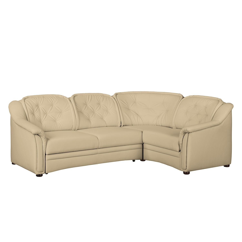 Canapé d'angle Tamba (convertible) Imitation cuir - Fonction lit à gauche (vue de face) - Beige, Mai