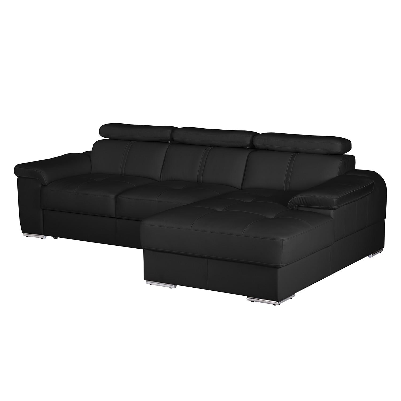 Canapé d'angle Tuja - Imitation cuir - Méridienne à droite (vue de face) - Noir, Nuovoform