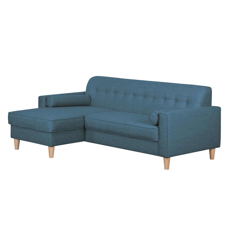 Canapé d'angle Viona I - Tissu - Méridienne à gauche (vue de face) - Tissu Meda Bleu jean, Morteens