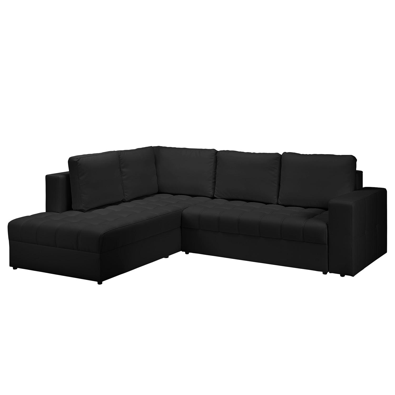 Canapé d'angle Wadena - Imitation cuir - Convertible - Courte à gauche (vue de face) - Noir, Fredrik