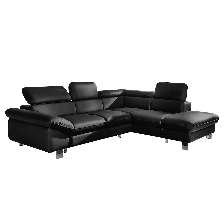 Canapé d'angle Waiho - Imitation cuir - Méridienne à droite (vue de face) - Avec fonction couchage -