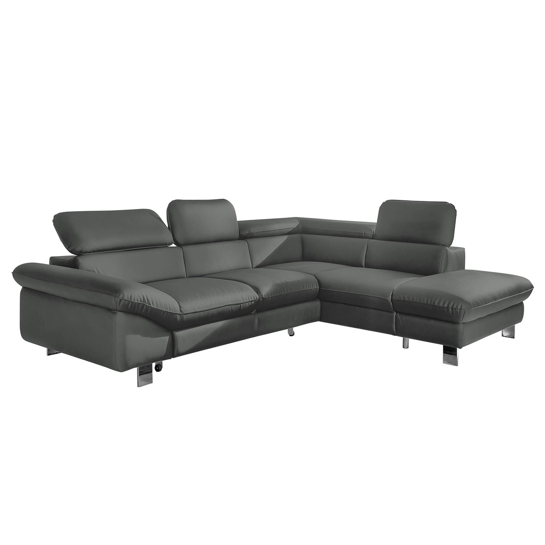 Canapé d'angle Waiho - Imitation cuir - Méridienne à droite (vue de face) - Sans fonction couchage -