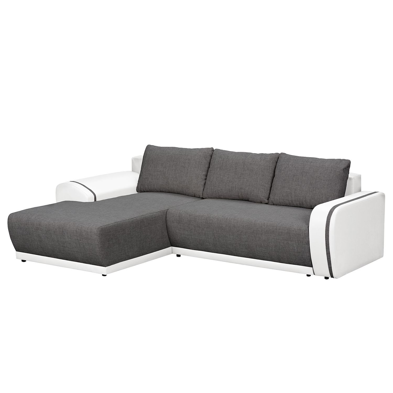 Canapé d'angle Westford (convertible & avec 2 repose-pieds) - Cuir synthétique / Tissu structuré - M