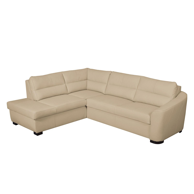 Canapé d'angle Willowie - Cuir véritable - Courte à gauche (vue de face) - Avec fonction couchage -