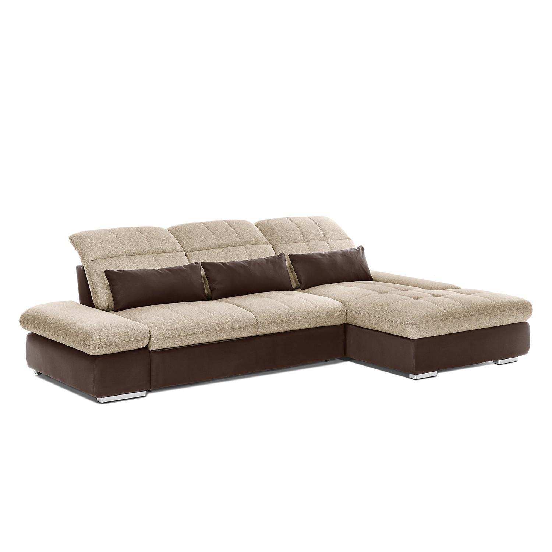 Canapé d'angle Wonder - Microfibre / Tissu - Courte à droite (vue de face) - Marron / Cappuccino, Co