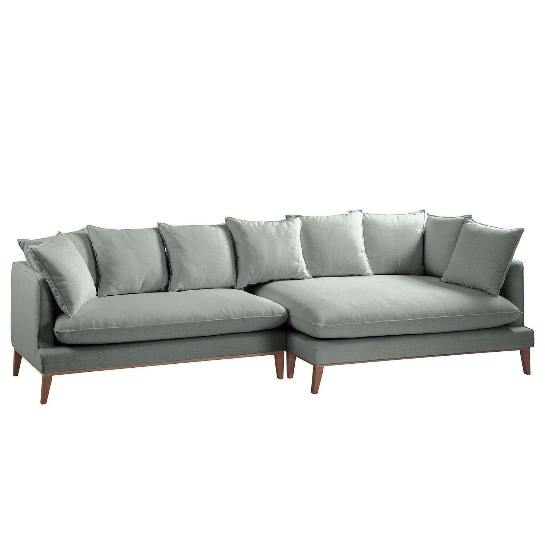 Canapé d'angle XL Lavina - Tissu - Courte à droite (vue de face) - Tissu Moretey Menthe, Eva Padberg