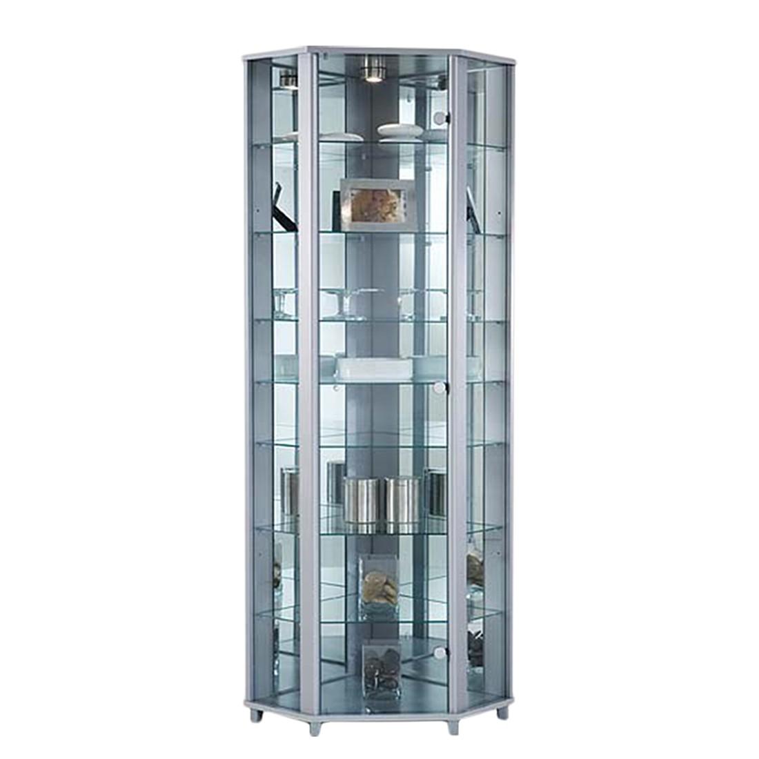 Home 24 - Eek b, vitrine d angle amalia - argenté - avec 7 tablettes en verre, modoform